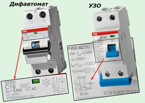 Чем отличается УЗО от дифавтомата