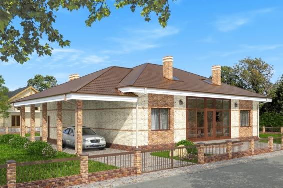 Проекты одноэтажных домов из бетона с гаражом или навесом для авто